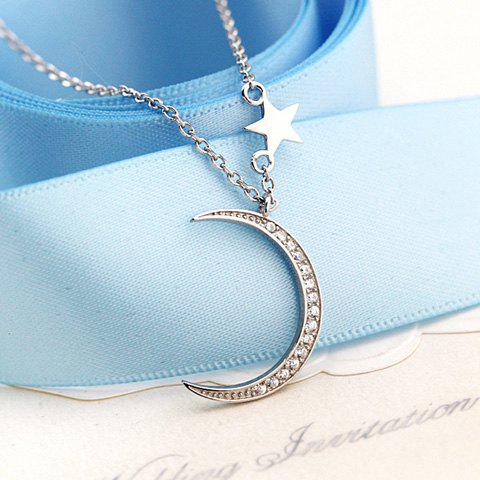 Rhinestoned Moon Pentagram Pendant Necklace - SILVER