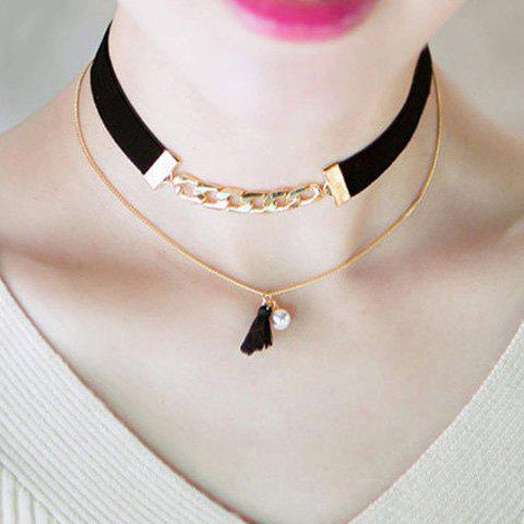 Doublelayer Faux Pearl Tassel Choker Necklace