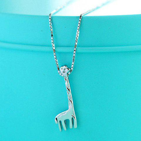 Alloy Giraffe Shape Pendant Necklace - SILVER