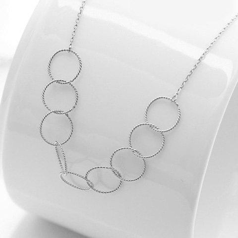 Delicate Silver Interlink Circle Necklace For Women - SILVER