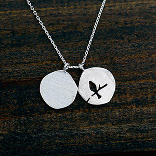 Delicate Silver Hollow Out Birdie Necklace For Women - SILVER