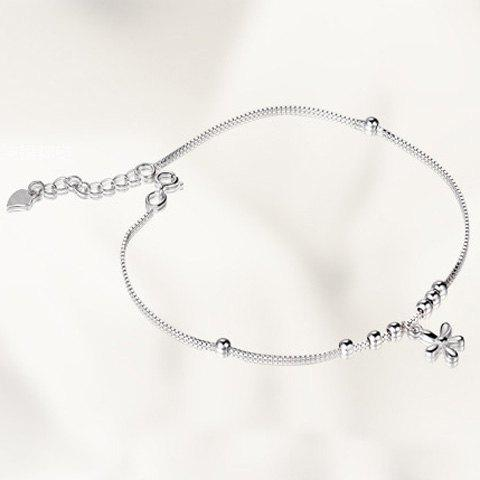 Delicate Flower Beads Anklet For Women -  SILVER