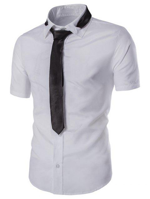 5f57278a314 Hot Sale Turn-down Collar Solid Color Short Sleeves Men s Slim Fit Shirt -  WHITE