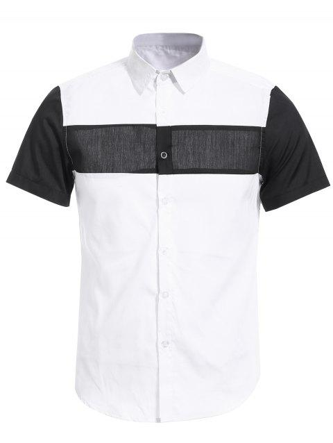 Vogue Shirt Collar White and Black Spliced Men's Short Sleeves Shirt - WHITE XL