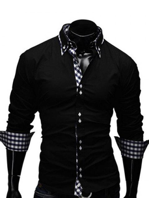 Turn-Down Collar Checked Splicing Design Long Sleeve Men's Shirt - BLACK L
