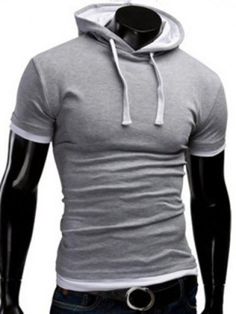 Solid Color Hooded Short Sleeve Men's T-Shirt - LIGHT GRAY XL