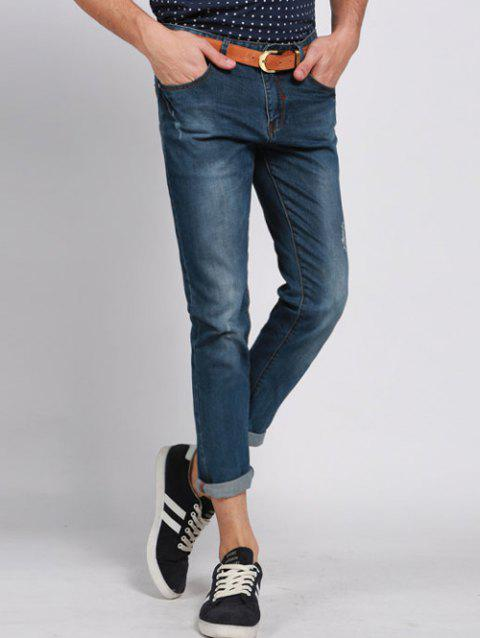 Men 's  Casual Solid Color Ripped Zip Fly Pantacourt Jeans - Bleu 29
