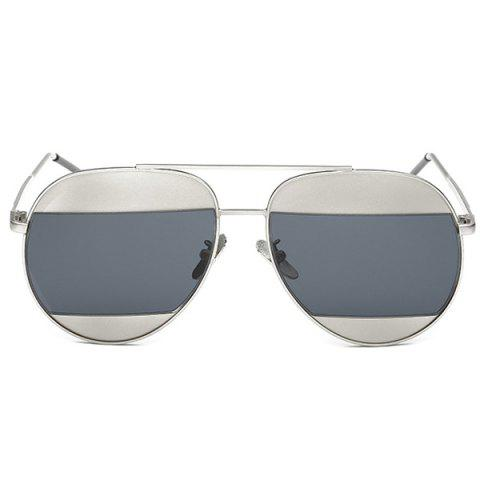 Fashion Cool Summer Two Color Match Lenses Hipsters Sunglasses For Unisex Aviator - BLACK