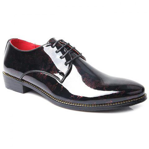 Stylish Color Block and Lace-Up Design Men's Formal Shoes - RED 43