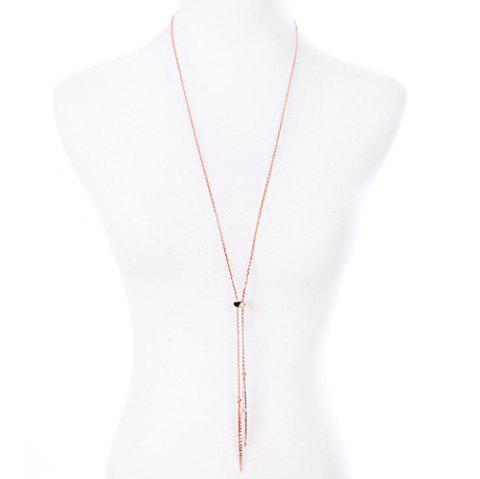 Rhinestone Alloy Sweater Chain - ROSE GOLD