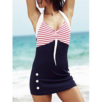 Trendy Halter Polka Dot Hit Color One Piece  Swimwear For Women
