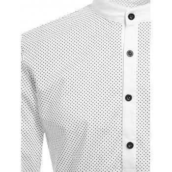 Laconic Stand Collar Polka Dot Print Long Sleeves Men's Polo T-Shirt - WHITE M