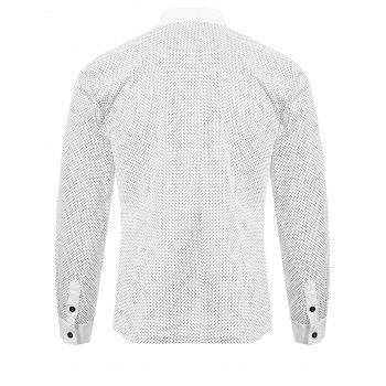 Laconic stand Collar Polka Dot Imprimer manches longues Hommes  's Polo T-Shirt - Blanc 2XL