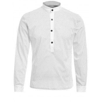 Laconic Stand Collar Polka Dot Print Long Sleeves Men's Polo T-Shirt