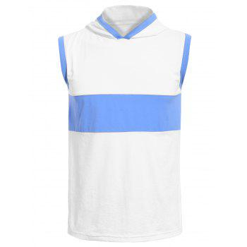 Vogue Hooded Color Splicing Men's Tank Top - WHITE M