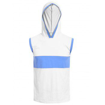 Vogue Hooded Color Splicing Men's Tank Top