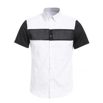 Buy Vogue Shirt Collar White Black Spliced Men's Short Sleeves WHITE