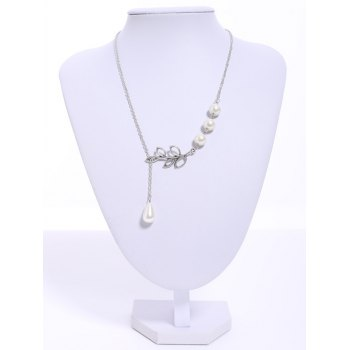 Faux Pearl Leaf Pendant Necklace