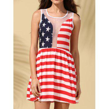 Sleeveless American Flag See-Through Dress