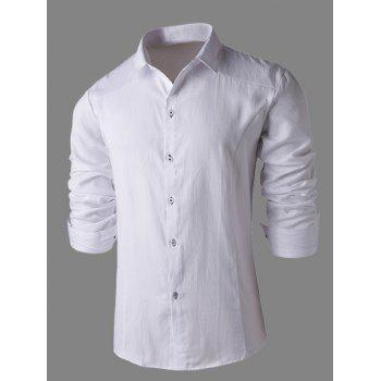 Turn-Down Collar Slimming Long Sleeve Business Men's Shirt