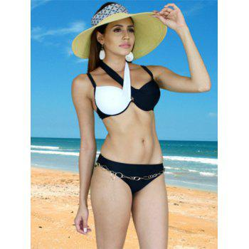 Brief Women's Criss-Cross Patchwork Bikini Set - WHITE/BLACK L