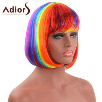Bob Style Straight Synthetic Stylish Rainbow Color Short Capless Adiors Wig For Women - COLORMIX