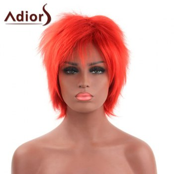 Vogue Fluffy Short Straight Side Bang Orange Red Capless Synthetic Adiors Wig For Women - ORANGE RED