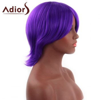 Spiffy Short Straight Capless Synthetic Oblique Bang Purple Adiors Wig For Women - DEEP PURPLE