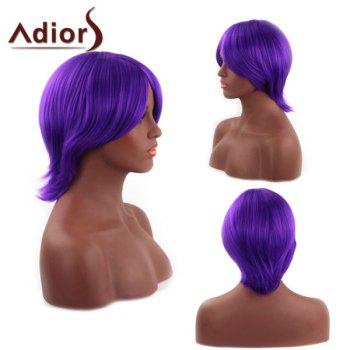 Spiffy Short Straight Capless Synthetic Oblique Bang Purple Adiors Wig For Women