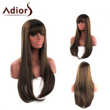 Elegant Capless Long Silky Straight Side Bang Light Brown Synthetic Adiors Wig For Women