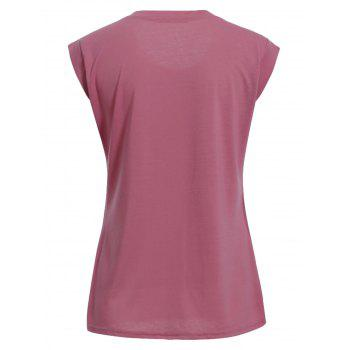 Plus Size Jewel Collar Sleeveless T-Shirt - DEEP PINK 3XL