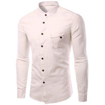 Plus Size  Cotton+Linen Pocket Design Stand Collar Long Sleeve Men's Shirt