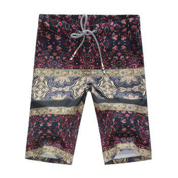 Floral Print Splicing Design Plus Size Lace-Up Straight Leg Men's Shorts