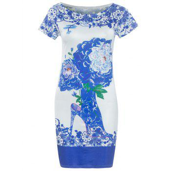 Fashionable Blue and White Porcelain Round Neck Short Sleeve Dress For Women