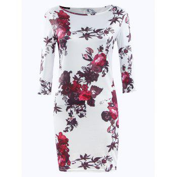 Fashionable 3/4 Sleeve Floral Print Jewel Neck Dress For Women