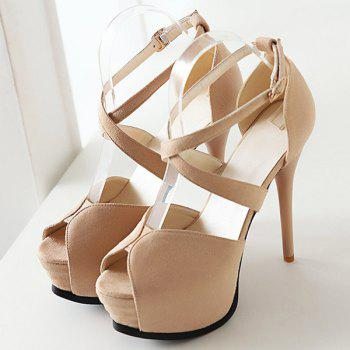 Stylish Stiletto Heel and Cross Straps Design Women's Peep Toe Shoes - APRICOT 34
