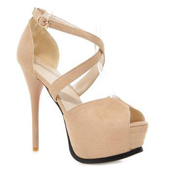 Stylish Stiletto Heel and Cross Straps Design Women's Peep Toe Shoes