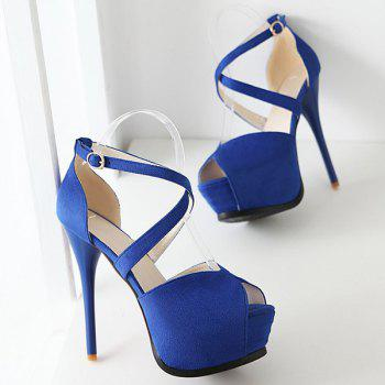 Stylish Stiletto Heel and Cross Straps Design Women's Peep Toe Shoes - BLUE BLUE