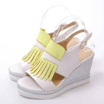 Fashionable Colour Block and Fringe Design Women's Sandals - YELLOW 38