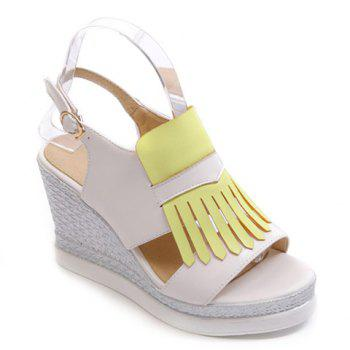 Fashionable Colour Block and Fringe Design Women's Sandals