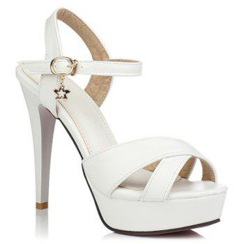 Fashionable Metallic and Cross Straps Design Women's Sandals