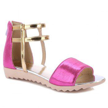 Ankle Strap Color Block Flat Sandals