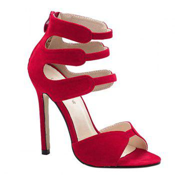 Stylish Zip and Stiletto Heel Design Women's Sandals