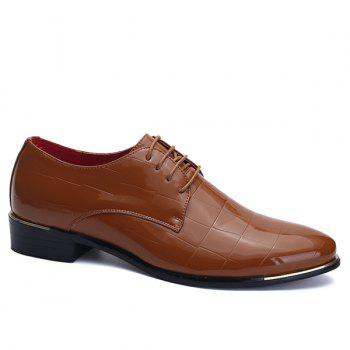 Stylish Embossing and Patent Leather Design Men's Formal Shoes