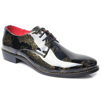 Stylish Color Block and Lace-Up Design Men's Formal Shoes