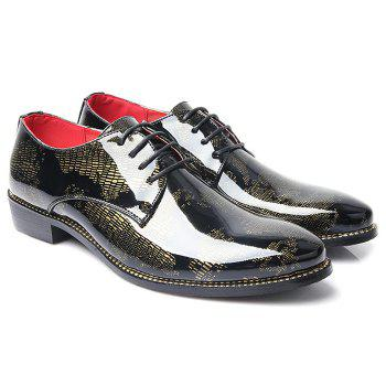 Stylish Color Block and Lace-Up Design Men's Formal Shoes - YELLOW 39