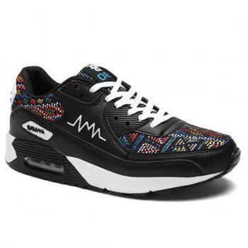 Buy Fashionable Multicolor Splicing Design Men's Athletic Shoes BLACK