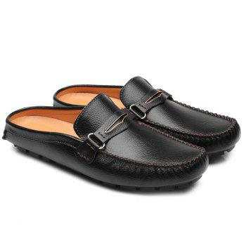 Casual Stitching and Black Design Men's Loafers - BLACK 42