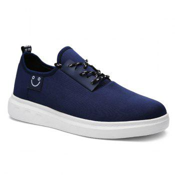 Simple Smiley Face and Lace-Up Design Men's Casual Shoes