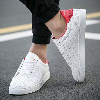 Sports Style White and Lace-Up Design Men's Casual Shoes - RED 42